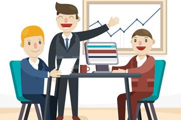 3个创意会议中的团队男子矢量图