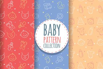 3款彩色线绘婴儿元素无缝背景矢量图