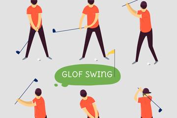 6款创意高尔夫男子动作矢量素材