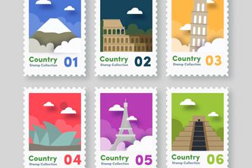 6款彩色纸质旅游城市邮票矢量图