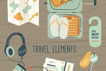 10款创意旅游物品矢量素材