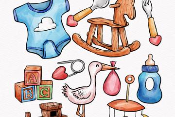 10款手绘婴儿用品设计矢量图