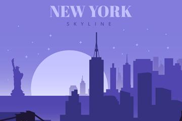 创意纽约日落风景剪影矢量素材