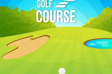 创意高尔夫球场设计矢量素材