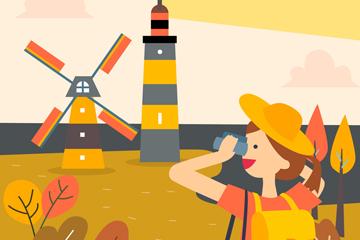 创意拍摄秋季风景的旅游女子矢量