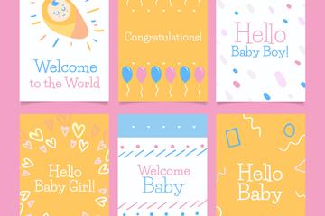 6款手绘迎婴卡片设计矢量素材