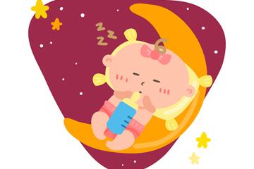 卡通月亮上的婴儿矢量素材