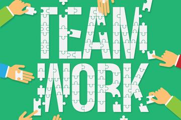 创意团队合作拼图艺术字矢量图