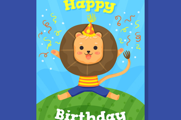 可爱狮子生日祝福卡设计矢量素材