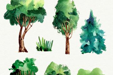 7款水彩绘绿色树木矢量素材