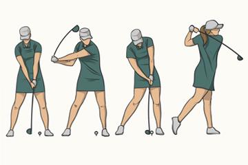 4款彩绘绿衣高尔夫女子动作矢量