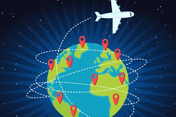 卡通环球旅行飞机矢量素材