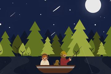 创意夜间钓鱼的人物矢量素材