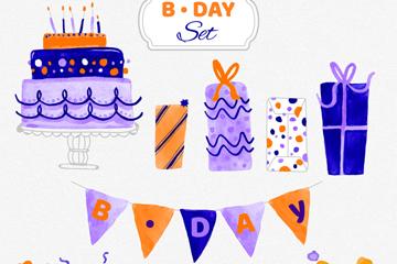 9款水彩绘生日派对元素矢量图