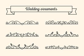 10款简洁黑色婚礼花边矢量素材