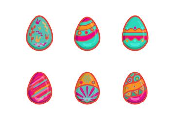 9款玫红色边复活节彩蛋矢量素材