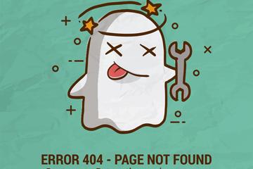 可爱404错误页面晕的幽灵矢量图
