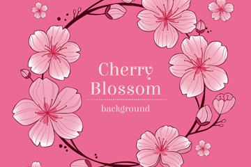 手绘粉色樱花花环矢量素材