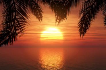 创意海上的夕阳风景矢量素材