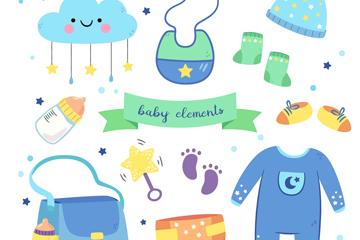 11款蓝色系婴儿用品矢量素材