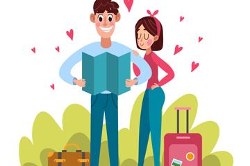 卡通旅行情侣设计矢量素材