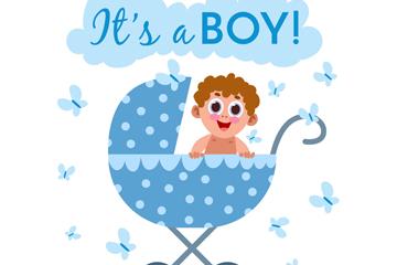 可爱婴儿车里的男婴矢量素材