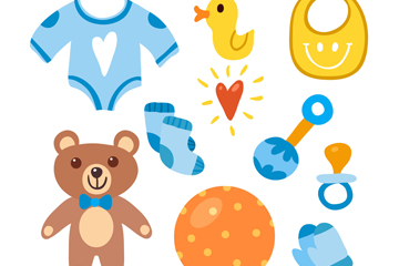 10款蓝色系婴儿用品矢量素材
