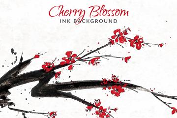 水彩绘樱花树树枝矢量素材