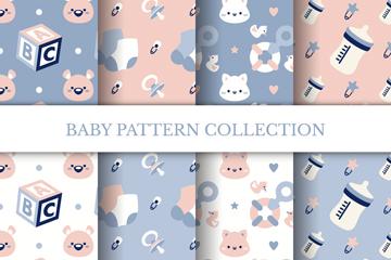 8款可爱婴儿物品无缝背景矢量素