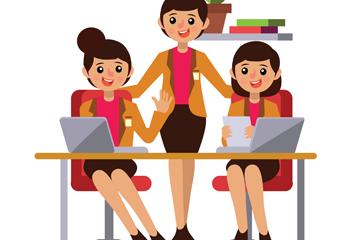 创意3个商务团队女子矢量素材