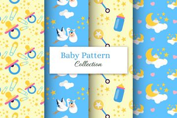 4款创意婴儿元素无缝背景矢量图