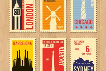 6款复古旅游城市邮票矢量素材