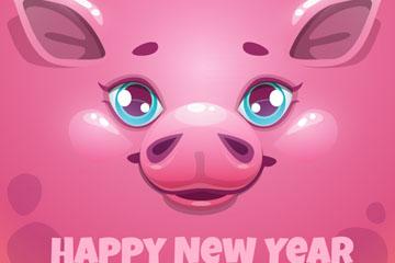 2019年新年粉猪贺卡矢量素材
