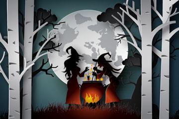 ��意�f圣夜熬�水的森林女巫矢量�D