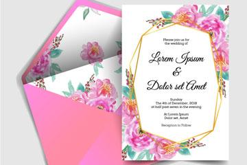 粉色花卉婚礼邀请卡和信封矢量图