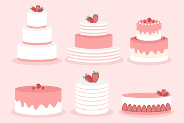 6款粉色�日蛋糕�O�矢量素材