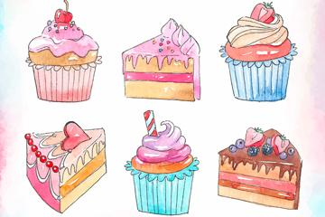 6款彩�L美味甜�c矢量素材