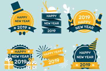 6款扁平化新年标签矢量素材