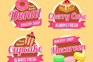 4款粉色甜点标签矢量素材