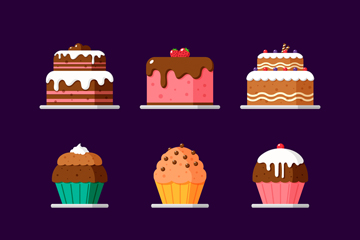 9款彩色美味蛋糕矢量素材