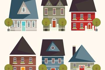 6款扁平化住宅设计矢量素材