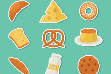9款创意面包店食物标签矢量图
