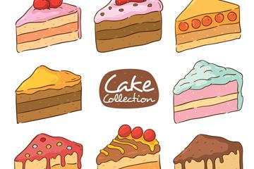 8款美味三角蛋糕设计矢量图