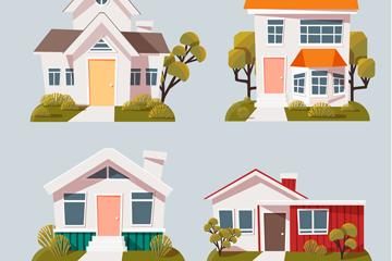 4款白色私人住宅矢量素材