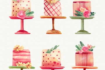 6款水彩绘高脚盘上的蛋糕矢量图