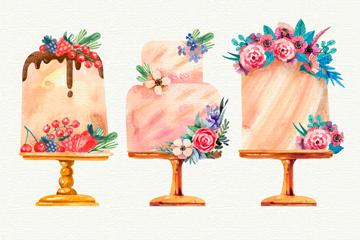 3款美味花卉装饰蛋糕矢量图