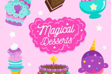 6款彩色甜点设计矢量素材