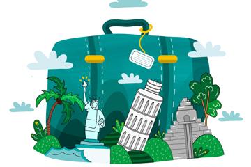 创意绿色旅行箱和景点矢量图