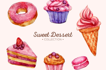 水彩绘甜点组合圆环矢量素材