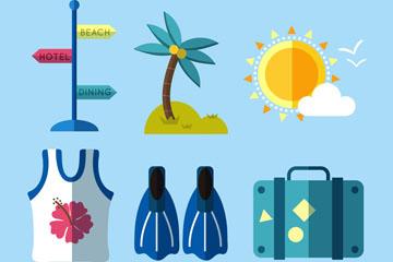 6款扁平化旅行元素矢量素材